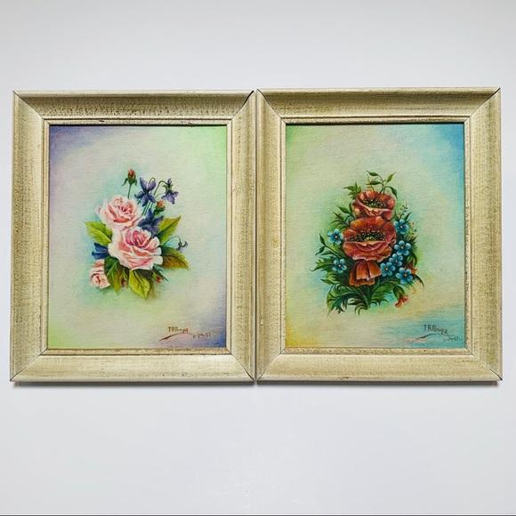 Vintage 1960's Framed Floral Oil Paintings.